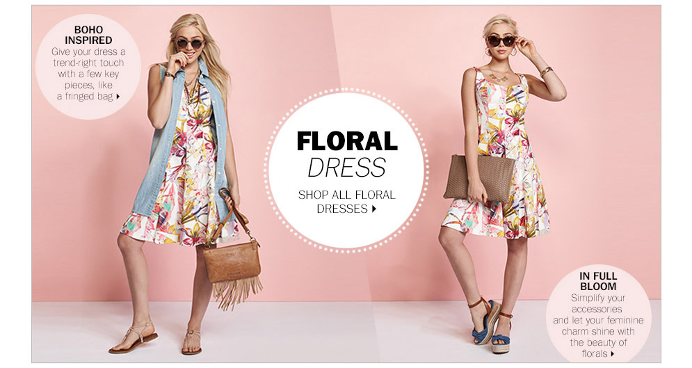 A floral dress can be hip or edgy thanks to accessories.