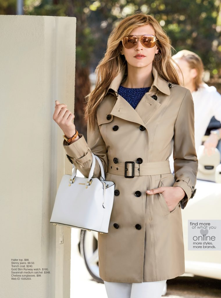 Michael Kors Trench, Halter, Skinny Jeans, Runway Watch, Savannah Satchel and Chelsea Sunnies.